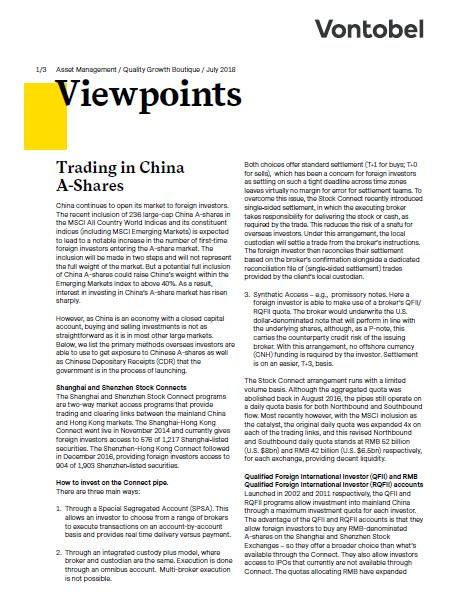 Vontobel Viewpoints: Trading in China A-Shares