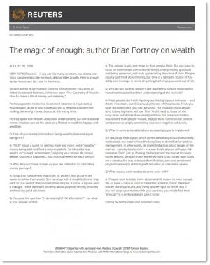 Reuters - The Magic of Enough: Author Brian Portnoy on Wealth