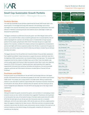 KAR Small Cap Sustainable Growth Portfolio SMA Fact Sheet/Commentary