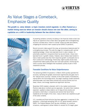 z - Cover Image: As Value Stages a Comeback, Emphasize Quality